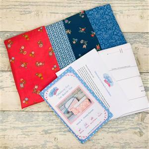 Living in Loveliness Fabulously Fast Fat Quarter Fun Issue 8 Pretty Bags; 4 x Liberty FQs Coral/Blue