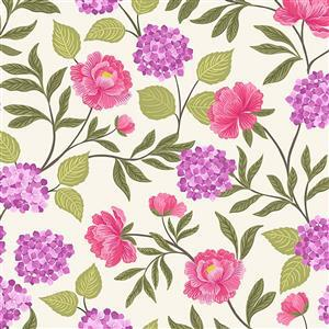 Lewis & Irene Love Blooms Florals On Cream Fabric 0.5m