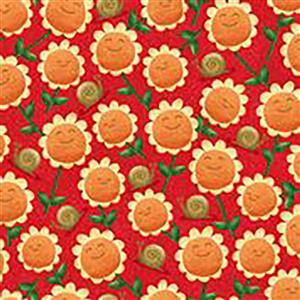 Home Sweet Gnome Garden Party on Red Fabric 0.5m