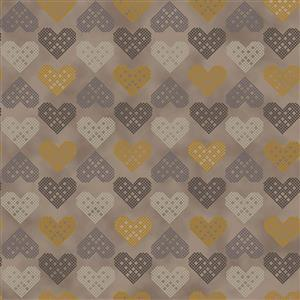 Christmas Wonders Gold Hearts Fabric 0.5m