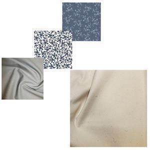 Blue Floral Trio Floral Fabric Baskets Bundle: FQ's (3 Pieces) & Fabric (1.5m)