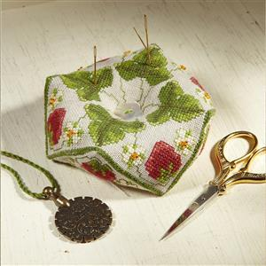 The Cross Stitch Guild Strawberry Beaded Biscornu on Aida - New to Sewing Street