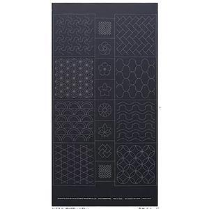 Sashiko Tsumugi Preprinted Geo 19 Black Fabric Panel 108x61cm
