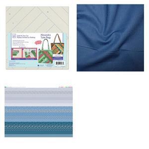Misty Blue Quilt As You Go Alexandra Tote Bag Kit: QAYG & Panel