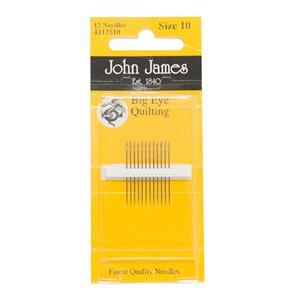 John James Pack of 12 Big Eye Quilting Needles Size 10