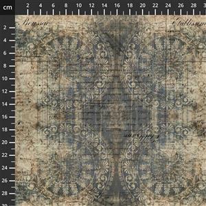 Tim Holtz Abandoned II in Muted Medallion Indigo Fabric 0.5m