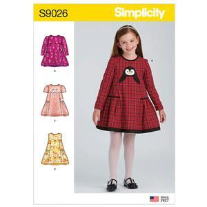 Simplicity Children's Animal Applique Pocket Dress Sewing Pattern