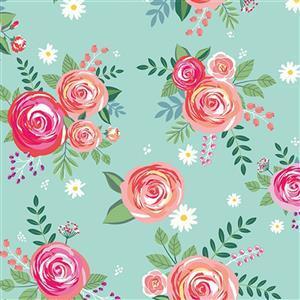 Riley Blake Poppy & Posey Mint Rose Fabric 0.5m