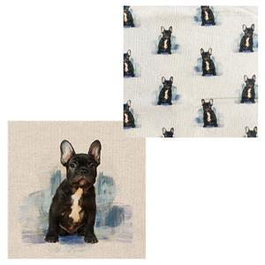 French Bulldog  Cushion Bundle: Fabric Panel & Fabric (0.5m)
