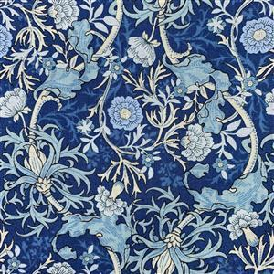 Country Floral Wild Side on Blue Fabric 0.5m Exclusive