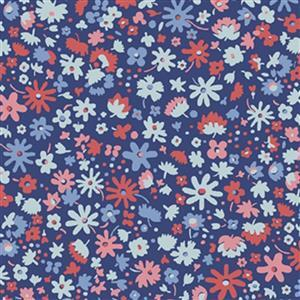 Liberty Carnaby Collection Bloomsbury Blossom Red and Blue Fabric 0.5m