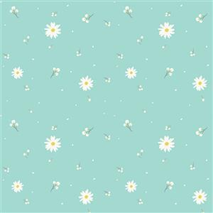 Riley Blake Poppy & Posey Mint Daisy Fabric 0.5m
