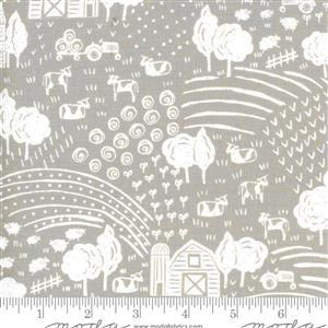 Moda On The Farm - White Landscape - Khaki Fabric 0.5m