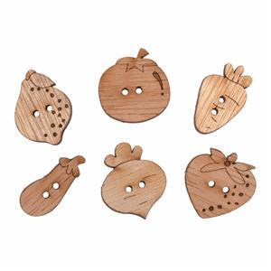 Wooden Buttons Fruit Veg Pack Of 6
