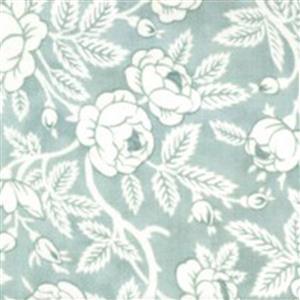 Moda Sanctuary in Green & White Rose Budding Fabric 0.5m