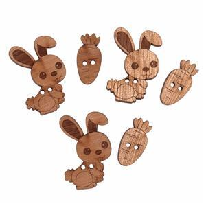 Wooden Buttons Bunnies Pack Of 6