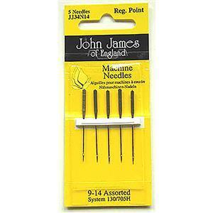 John James Pack of 5 Regular Point Sewing Machine Needles Size 9/14 (70/90)