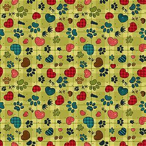 Henry Glass Pawprints & Hearts on Green Fabric from Rescued & Loved Range 0.5m