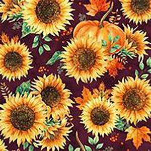 Hoffman Autumn Is In The Air Mulberry Gold Sunflower Fabric 0.5m