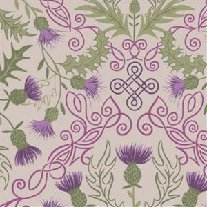 Lewis & Irene Loch Lewis Purple Thistles On Natural Fabric 0.5m