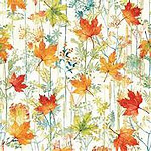 Hoffman Autumn Is In The Air Harvest Gold Leaves Fabric 0.5m