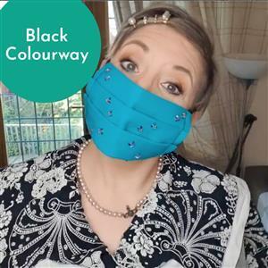 Black Mask Kit: 0.5m Fabric, Elastic & Swarovski Heart Crystals (Hot Fix)