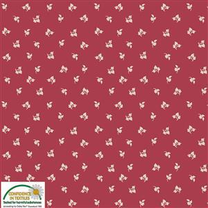 Nellies Shirtings Tossed Leaves On Claret Fabric 0.5m
