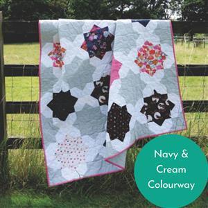 Lou Orth Navy & Cream Suncatcher Star Quilt Kit: Pattern, Fabric (6.5m)