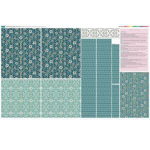 Teal Traditional Tote Bag Fabric Panel (140 x 96cm)