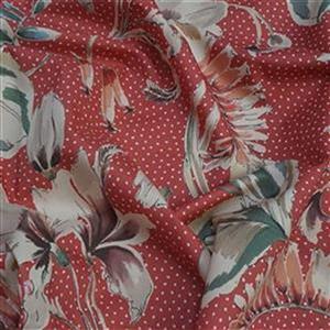 Showering Vine Salmon Pink Viscose Challis Lawn Fabric Bundle (2m)