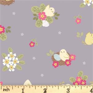 Lewis & Irene Bunny Hop Chicks On Grey Fabric 0.5m