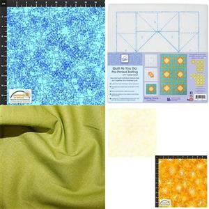 Green & Blue Rolling Stone Quilt As You Go Kit: Pre-printed Wadding, FQ Pack (2pcs) & Fabric (2.5m)