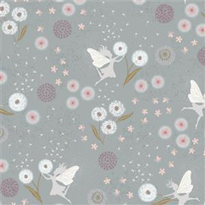 Lewis & Irene Fairy Clocks Fairy Floral On Grey Fabric 0.5m