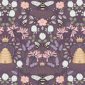 Lewis & Irene Queen Bee Beehive Scenes On Mauve Fabric 0.5m