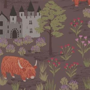 Lewis & Irene Loch Lewis Highland Scenes On Taupe Fabric 0.5m
