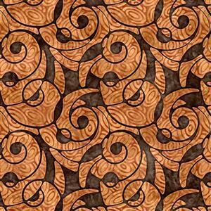 Dan Morris Adagio Brown Packed Swirl Fabric 0.5m