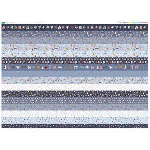 Dog Design 16 x Fabric Strips Panel - Full Width (140 x 107cm)