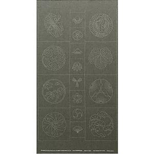 Sashiko Tsumugi Preprinted Kamon 19 Dark Green Fabric Panel 108x61cm