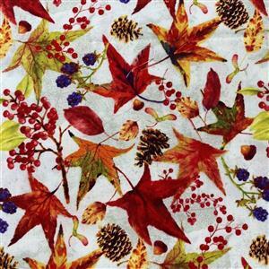 Harvest Whisper Mixed Leaves on Cream Fabric 0.5m