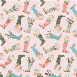 Wish For Rain Tossed Wellies On Pink Fabric 0.5m