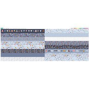 Dog Design 16 x Fabric Strips Panel - Half Width(140 x 57cm)