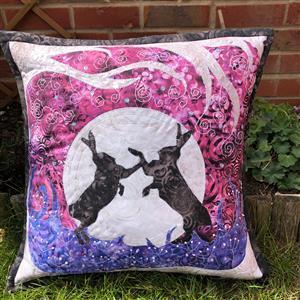 Delphine Brooks' Fighting Hare's Cushion Kit: Instructions, FQ (4pcs) & Fabric (0.5m)