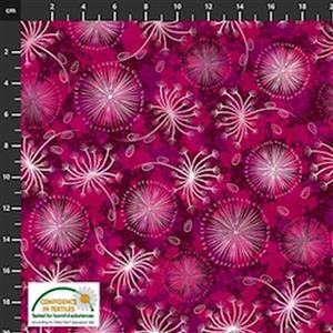 Flowers In The Wind Flowers & Nature Ruby Fabric 0.5m