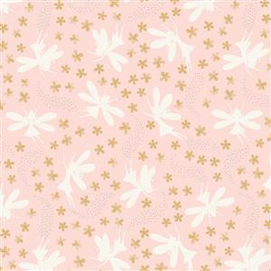 Lewis & Irene Fairy Clocks Fairies On Pink Fabric 0.5m