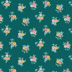 Liberty Emporium Collection Merchant Bright's Kyoto Posy Green Fabric 0.5m