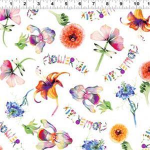Flower Talk Flowers on White Fabric 0.5m