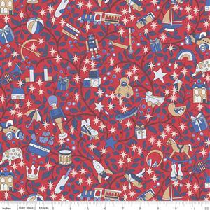 Liberty Merry & Bright Magical Forest Red Fabric 0.5m