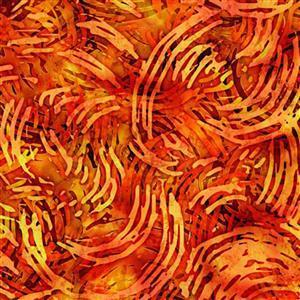Dan Morris Tropicalia Orange Swirl Geo Fabric 0.5m