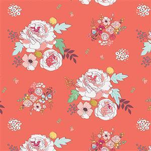 Riley Blake Idyllic Flowers on Coral Fabric 0.5m