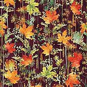 Hoffman Autumn Is In The Air Mulberry Gold Leaves Fabric 0.5m